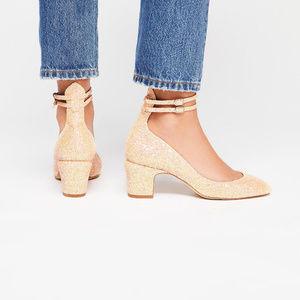 Free People Glitter Lana Block Heel Size 40/10